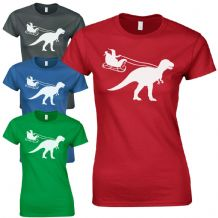 Santa Sleigh Dinosaur Ladies Fitted T-Shirt Funny T-Rex Jurassic Christmas Gift